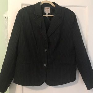 Black blazer with white stripes